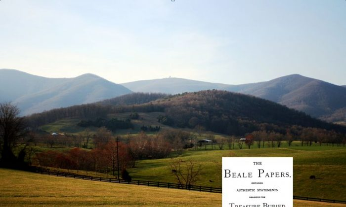 """A view of Bedford County, Va., where the supposed treasure of """"The Beale Papers"""" is said to be buried. (Wikimedia Commons) Bottom right: Cover of """"The Beale Papers"""" (Wikimedia Commons)"""