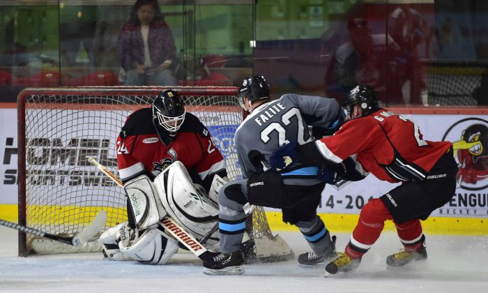 South China Sharks' Craig Falite attacks the Kowloon Kowloon Warriors goal during their CIHL match at Mega Ice on Saturday Oct 11, 2014. (Bill Cox/Epoch Times)