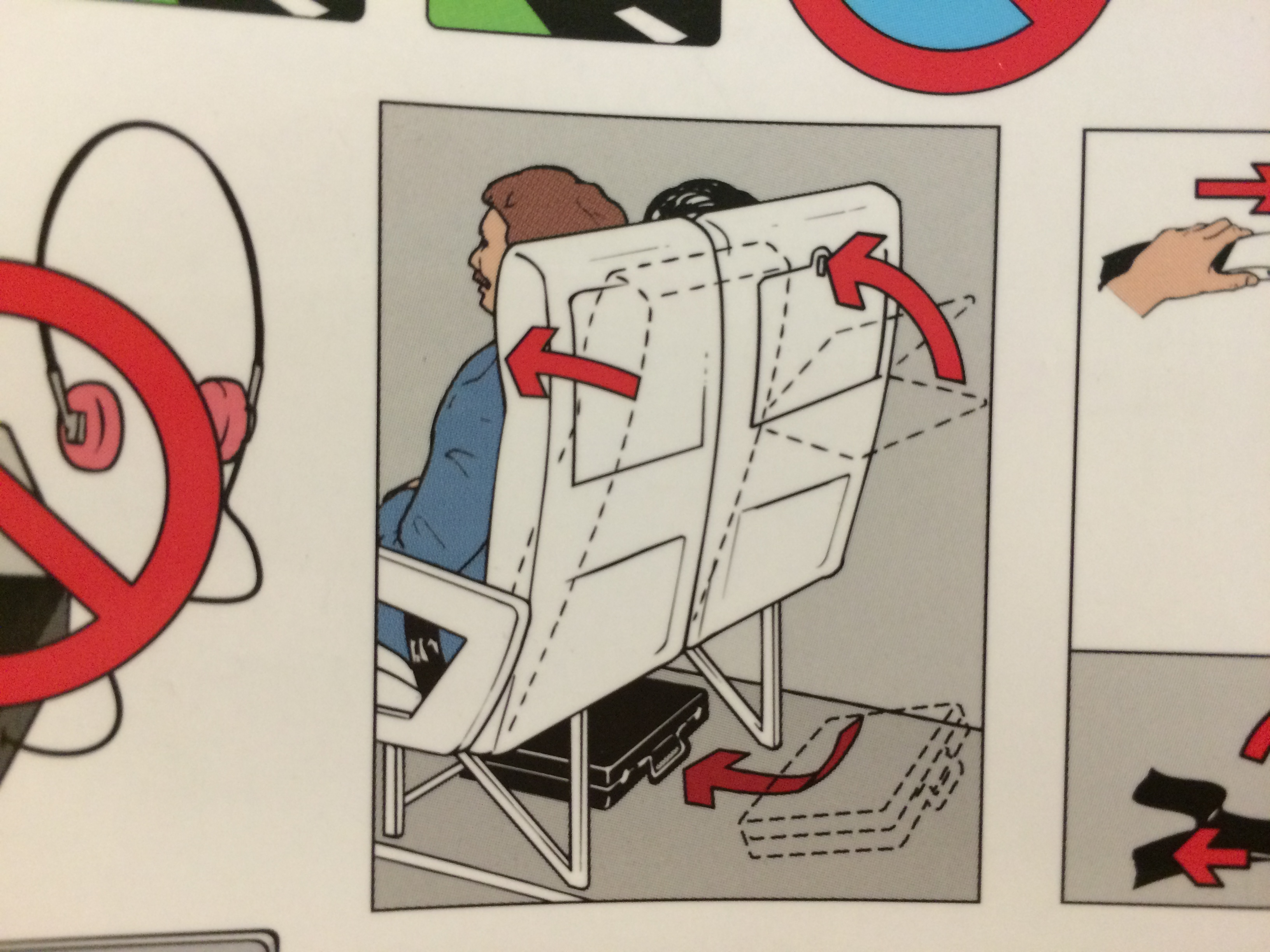 Airplane safety instructions, put seat in upright position