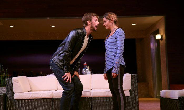 """Fred Weller and Callie Thorne in a scene from Neil LaBute's """"The Money Shot."""" (Joan Marcus)"""