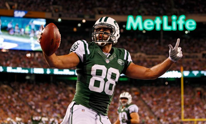 Tight end Jace Amaro of the New York Jets will need to be involved for New York to get past New England Thursday night. (Rich Schultz/Getty Images)
