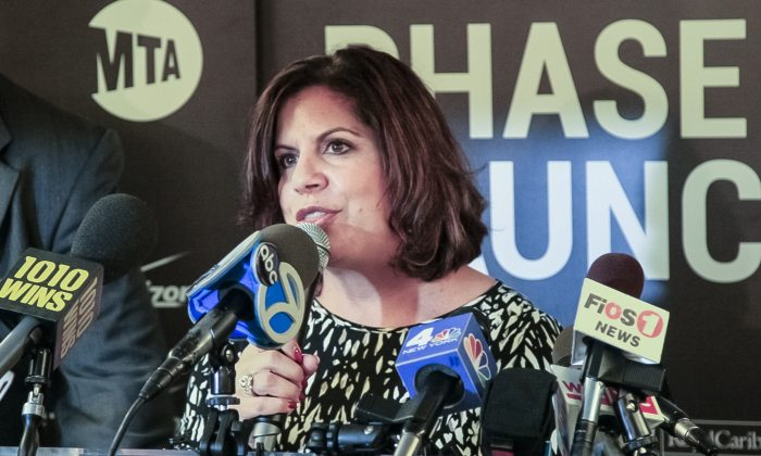 Verizon Wireless New York Network Executive Director Michele White at a press conference about adding Wi-Fi and phone calling services to 40 more subway stations in Manhattan and Queens, in Manhattan, N.Y., Oct. 16, 2014. (Shannon Liao/Epoch Times)