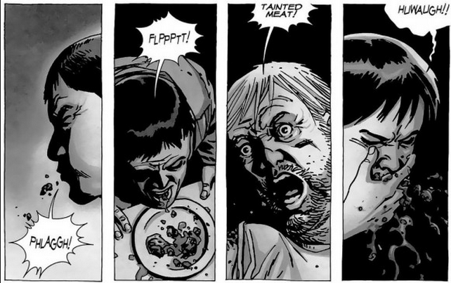 "The cannibals in the Walking Dead comics eat ""tainted meat,"" or meat from a person who had been bitten by a walker."