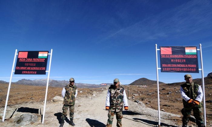 Indian Army personnel keep vigilance at Bumla pass at the India-China border in Arunachal Pradesh on October 21, 2012. Bumla is the last Indian Army post at the India-China border at an altitude of 15,700 feet above sea level. (Biju Boro/AFP/Getty Images)