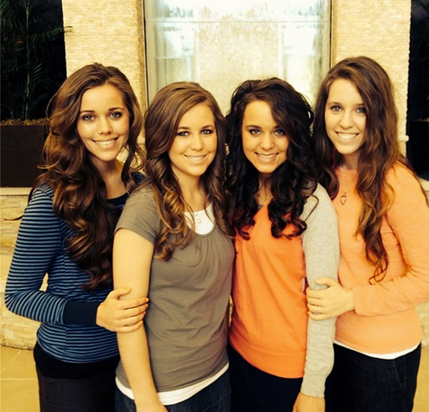 Jinger Duggar, second from right, with sisters (L-R) Jessa, Jana, and Jill. (Duggar Family)