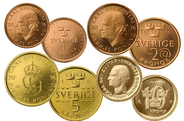 The next generation of Swedish coins on display. According to a new report, however, Sweden may move toward a cashless society as early as 2030. (Courtesy of Riksbanken)