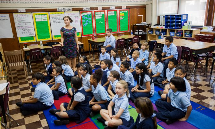 Students in uniform at Voice Charter School of New York, Corona, Queens, Sept. 18, 2014. (Petr Svab/Epoch Times)