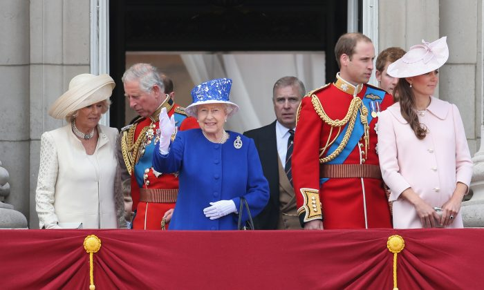 Camilla, Duchess of Cornwall, Prince Charles, Prince of Wales, Queen Elizabeth II, Prince Andrew, Duke of York, Prince William, Duke of Cambridge and Catherine, Duchess of Cambridge stand on the balcony at Buckingham Palace during the annual Trooping the Colour Ceremony on June 15, 2013 in London, England. (Chris Jackson/Getty Images)