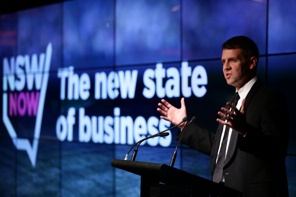 NSW Premier Mike Baird speaks at Sydney Opera House on May 22, 2014 in Sydney, Australia. Changes, proposed by Premier Mike Baird, to electoral funding laws have been passed. (Matt King/Getty Images)