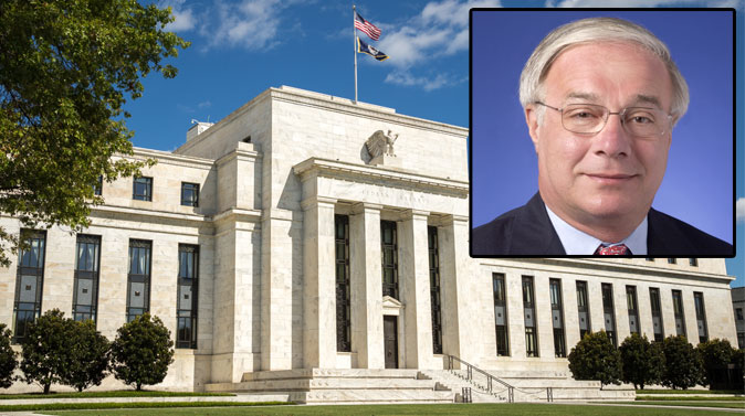 Background: United States Federal Reserve Bank building in Washington, DC. (Shutterstock*) Top right: Dr. David Wyss. (Courtesy of David Wyss)