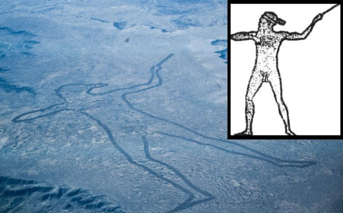 An aerial view of Marree Man and an outline illustrated by Lisa Thurston. (Wikimedia Commons)