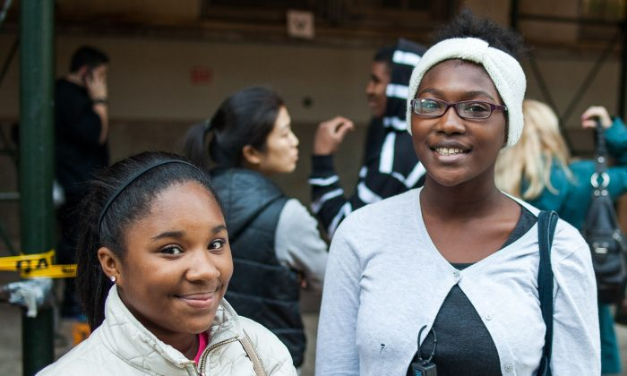 Ashley Segnibo (L) and Imani Williams in front of Brooklyn Technical High School, Fort Greene, Brooklyn, New York, on Oct. 25, 2014. The girls just finished the SHSAT, an admission test for New York City specialized high schools. (Petr Svab/Epoch Times)