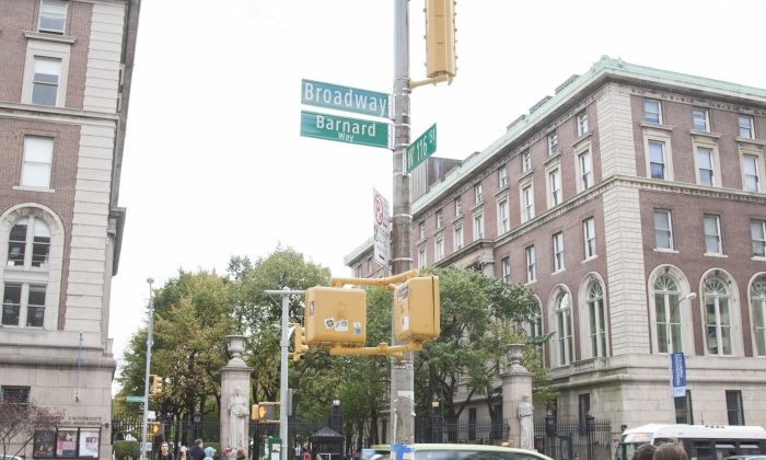 """A sign on the corner of 116th St. and Broadway in Manhattan, N.Y., indicates that the street has been named """"Barnard Way,"""" Sunday, Oct. 26, 2014. The street was named in honor of Barnard College, which celebrates its 125th birthday this year. (Annie Wu/Epoch Times)"""