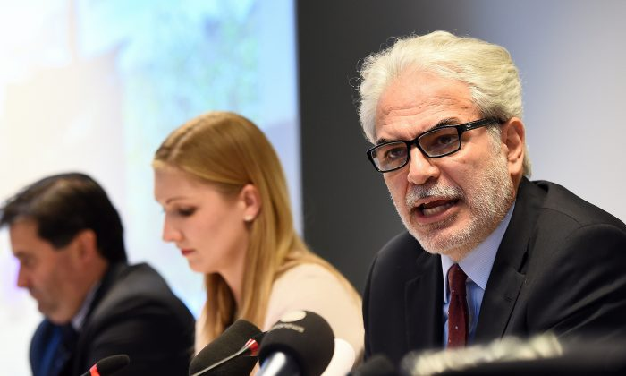 EU Commissioner-elect for humanitarian aid and crisis management and special coordinator on Ebola, Christos Stylianides at the EU Emergency Response Coordination Centre in Brussels, October 27, 2014. (Emmanuel Dunand/AFP/Getty Images)
