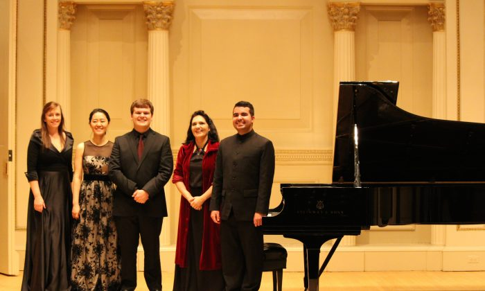 The 2014 International Shining Stars Competition Winners presented by the New York Concerti Sinfonietta include (L–R) Irish pianist Deirbhile Brennan, Korean pianist Jee In Hwang, American cellist Nicholas Burkel, and Brazilian pianists Andréa Luísa Teixeira and Diego Caetano on Oct. 19. (Alden Terry)