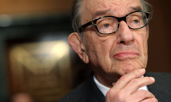 Former Federal Reserve Board Chairman Alan Greenspan testifies during a hearing before the Responsibility and Economic Growth Subcommittee of the Senate Finance Committee September 13, 2011 on Capitol Hill in Washington, DC. (Alex Wong/Getty Images)