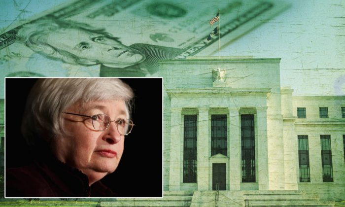 Background: Federal Reserve building in Washington DC superimposed on a twenty dollar bill. (Shutterstock*) Left: Federal Reserve Bank Chairwoman Janet Yellen delivers remarks on May 1, 2014, in Washington, DC. The Fed's latest statement released Oct. 29 detailed the ending of quantitative easing. (Chip Somodevilla/Getty Images)