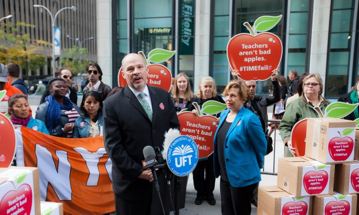 United Federation of Teachers President Michael Mulgrew at a press conference in front of Time magazine headquarters in mid-town Manhattan, New York, on Oct. 30, 2014. She presented a petition with over 100,000 signatories asking the magazine for an apology for a cover they say generalizes teachers as bad. (Petr Svab/Epoch Times)