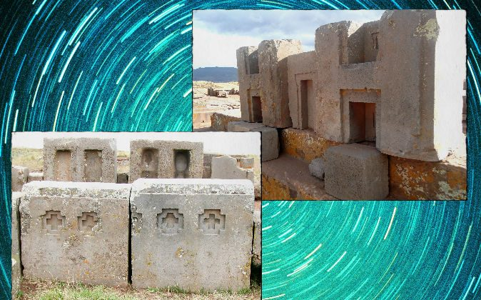 Large stones left at the Puma Punku site in Bolivia, said to be astronomically aligned. (Left: Brattarb/Wikimedia Commons; Right: Janikorpi/Wikimedia Commons) Background: A time-lapse photo of stars. (Digital Vision/Digital Vision/Thinkstock)