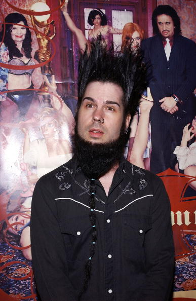 "Musician Wayne Static arrives at the record release party for Gene Simmons' ""Asshole"" on April 22, 2004 at the Key Club in West Hollywood, California.  (Photo by Amanda Edwards/Getty Images)"