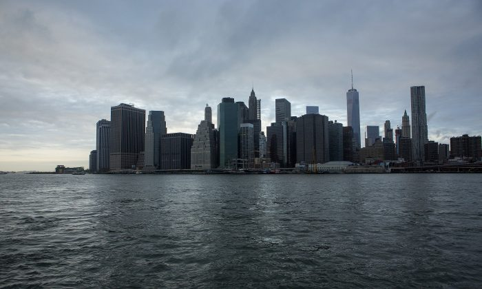 Lower Manhattan buildings are seen on Sept. 11. Commercial real estate company ARCP incorrectly included some Q1 income to calculate adjusted funds from operations for Q2.  (Eric Thayer/Getty Images)