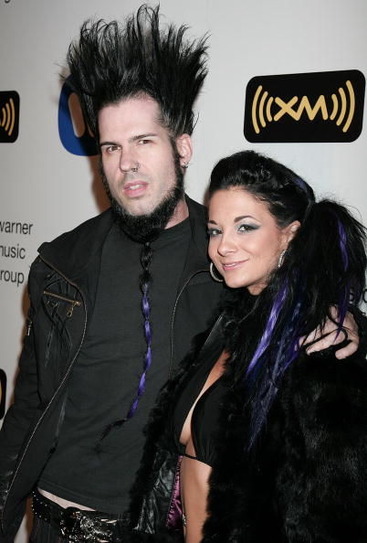 : Wayne Static of Static X (L) and wife Terra Wray arrive at the Warner Music Group 2008 GRAMMY Awards after party held at Vibiana on February 10, 2008 in Los Angeles, California. (Photo by David Livingston/Getty Images)