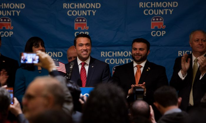 Michael Grimm celebrates at his election party at Hilton Garden Inn hotel on Staten Island, New York, on Nov. 4. (Petr Svab/Epoch Times)