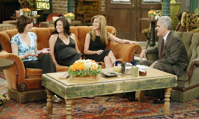 """Let me tell you something: there's six friends and I've been trying to put togIn this handout photo provided by NBC, actresses Lisa Kudrow, Courteney Cox-Arquette and Jennifer Aniston sat down with Jay Leno for a special 'Tonight Show' on May 6, 2004 in Los Angeles, California. (Photo by Paul Drinkwater/NBC via Getty Images)"