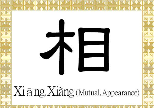 "The Chinese character 相 (xiāng) stands for appearance or countenance. As an adjective or adverb, it is used to describe the concept of ""each other,"" or being mutual, reciprocal, or correlative.  (Epoch Times)"