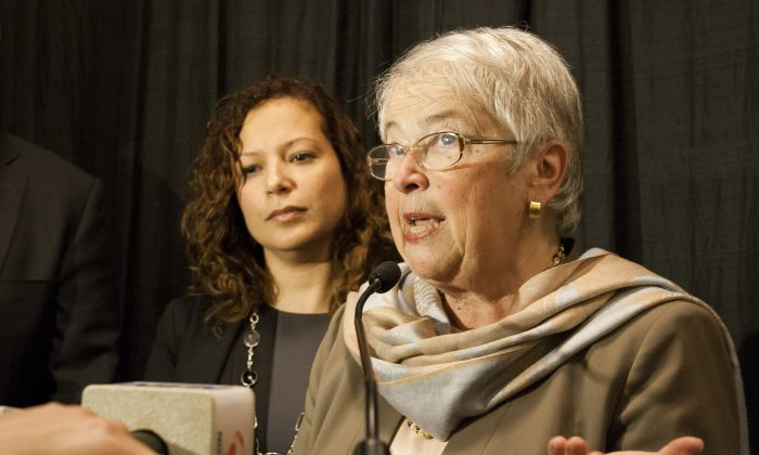 New York City Chancellor Carmen Fariña at a press conference at the Instituto Cervantes in Midtown Manhattan on Monday announcing new measures to help English language learning students. (Shannon Liao/Epoch Times)