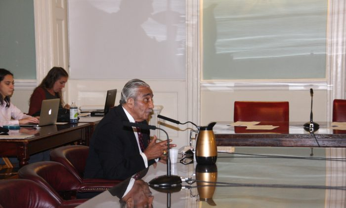 U.S. Congressman Charles Rangel at the City Hall meeting about homeless veterans in Manhattan on Nov. 10, 2014. (Tianna Ren/Epoch Times)