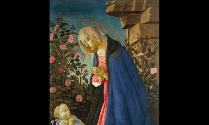 """""""The Virgin Adoring the Sleeping Christ Child,"""" circa 1485, by Sandro Botticelli.  (Courtesy of the Frick Collection)"""