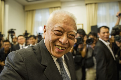 Former Hong Kong Chief Executive Tung Chee-hwa attends a press conference in Hong Kong on September 3, 2014. Tung supported the standing committee of China's rubber-stamp parliament who on August 31 ruled out public nominations for Hong Kong's next chief executive in 2017, with candidates for the city's top job to be approved instead by a Beijing-backed committee. (Xaume Olleros/AFP/Getty Images)