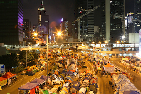 A time-lapse of the Occupy Central protest site in Hong Kong on Nov. 10, 2014.   (Benjamin Chasteen/Epoch Times)