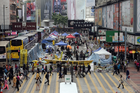 A general view shows the pro-democracy protest site in the Causeway Bay district of Hong Kong on December 12, 2014. (Isaac Lawrence/AFP/Getty Images)