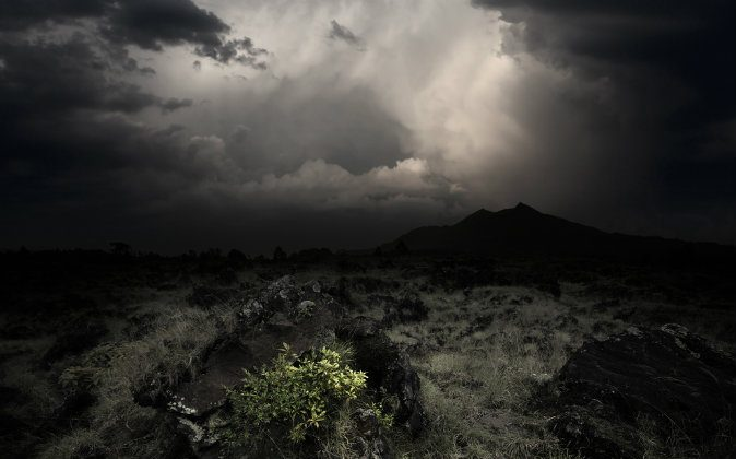 A file photo of dark clouds over a volcanic valley. (Shutterstock)