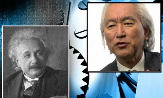 Left: Albert Einstein in 1931. (Doris Ulmann via Wikimedia Commons) Right: Michio Kaku. (Screenshot/Big Think/YouTube) Background: Mechanical gears. (Shutterstock*)
