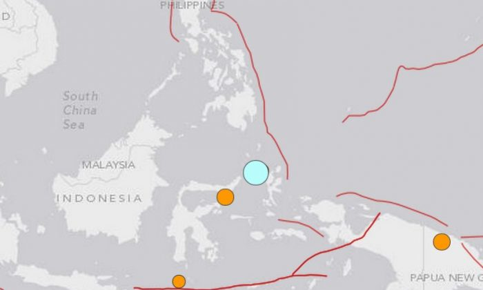 The location of the earthquake that hit near Indonesia (USGS)