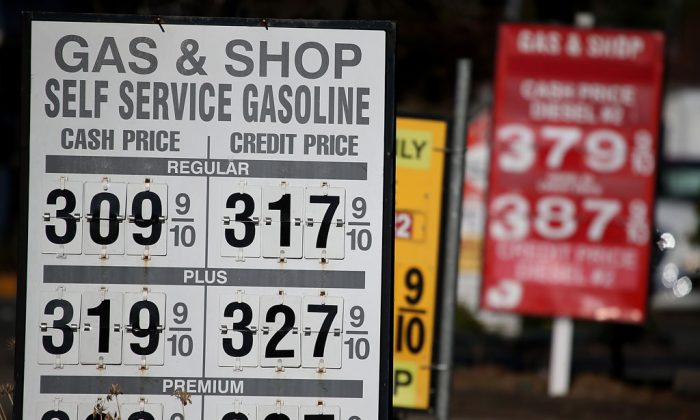Gas prices displayed at a gas station in San Anselmo, Calif., on Oct. 27. The drop in gas prices is good news for consumers. (Justin Sullivan/Getty Images)