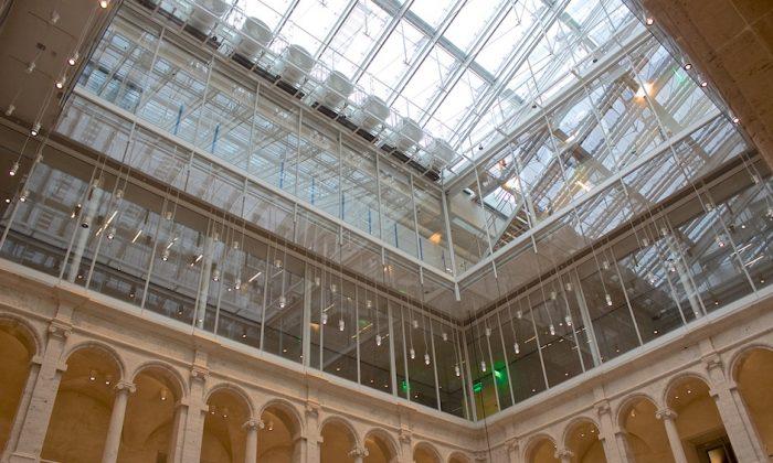 The Harvard Art Museums, during renovation and expansion, showing the Calderwood Courtyard, on Dec. 6, 2013. (Zak Jensen/Harvard Art Museums)
