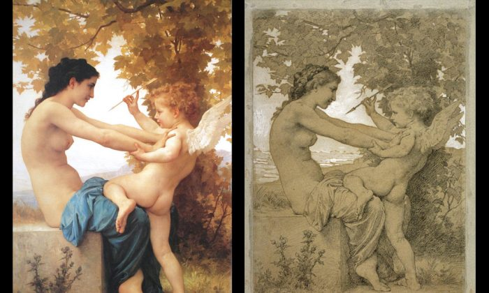 """Left: """"Jeune fille se defendant contre l'amour,"""" 1880, by William Bouguereau. Oil on canvas. University of North Carolina at Wilmington. Right: """"Jeune fille se defendant contre l'amour"""" (drawing), by William Bouguereau, 13 9/16 x 9 1/4 in Black Chalk and White Gouache on Paper. Legion of Honor, San Francisco, CA. (Courtesy of Art Renewal Center)"""
