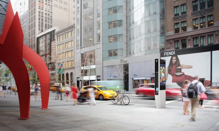 A concept photo of a WiFi kiosk in Manhattan. (Courtesy of LinkNYC)