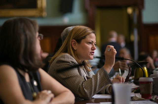 City Council Speaker Melissa Mark-Viverito questions Housing Commissioner Vicki Been during a hearing at City Hall in New York, Nov. 17, 2014. (William Alatriste)