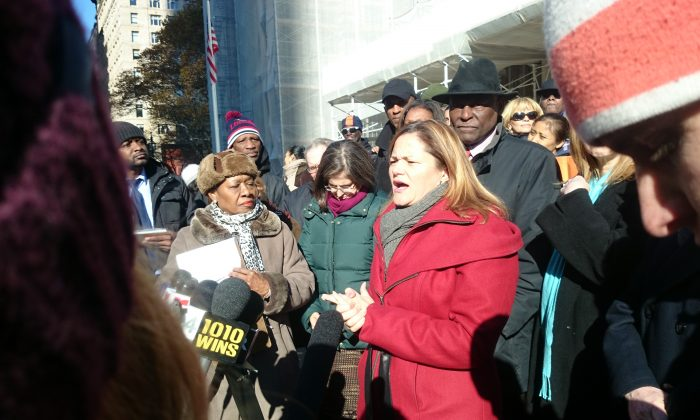 City Council Speaker Melissa Mark-Viverito at a tenant rally in front of City Hall in New York, Nov. 17, 2014. (Catherine Yang/Epoch Times)
