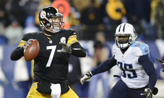 Pittsburgh Steelers quarterback Ben Roethlisberger (7) looks for a receiver as Tennessee Titans linebacker Kamerion Wimbley (95) rushes in the second half of an NFL football game Monday, Nov. 17, 2014, in Nashville, Tenn. (AP Photo/Mark Zaleski)