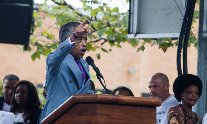 Rev. Al Sharpton at a rally against police brutality on Staten Island on Aug. 23, 2014. Sharpton discredited a recent New York Times story, which reported that he still owed more than $4 million in overdue taxes. (Petr Svab/Epoch Times)