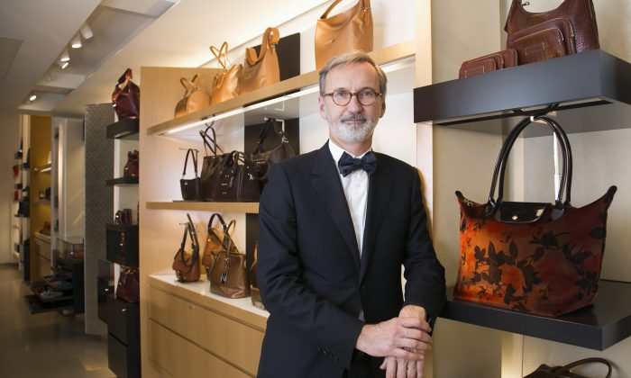 Jean Cassegrain, CEO of the French luxury goods company Longchamp, at the company's Madison Avenue store in New York on Nov. 5. (Epoch Times/Samira Bouaou)