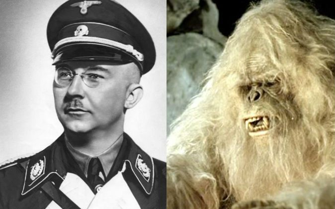 Left: Head of the Nazi S.S. Heinrich Himmler. (German Federal Archive via Wikimedia Commons) Right: A depiction of the legendary creature, the Yeti. (Wanida.W/Wikimedia Commons)