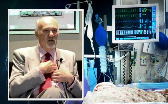 Left: Dr. Lloyd W. Rudy. (Screenshot/DentalMastermindGroup.com/YouTube) Background: A file photo of a patient in a hospital. (Edwin Verin/Hemera/Thinkstock)