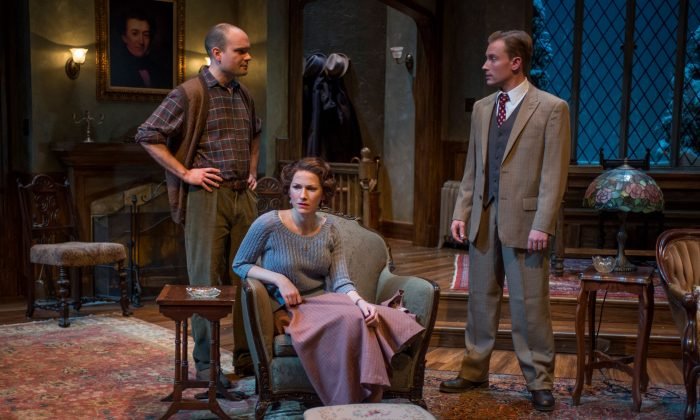 (L–R) Giles and Mollie Ralston (Keith Neagle and Cora Vander Broek) have opened a guest house, where a murder, investigated by Sergeant Trotter (Greg Matthew Anderson), has occurred. (Michael Brosilow)